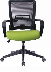 5 Minutes Completely Easy Installation Ergonomic Office Foldable Swivel Home Mesh Back Task Chair (Black/Green)
