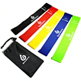 Resistance Loop Exercise Bands – Set of 5 – Workout Bands for Leg, Ankle, Stretching, Physical Therapy, Yoga and Home Fitness – With Bonus eBooks, Instruction Manual, Carry Bag & Online Video