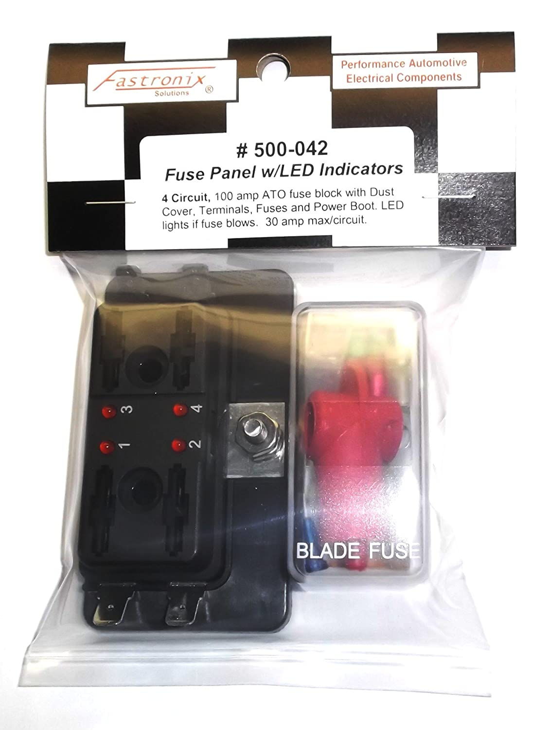 Fastronix 4 Circuit Led Fuse Block And Cover Kit With Automotive Box Amps Ato Atc Fuses