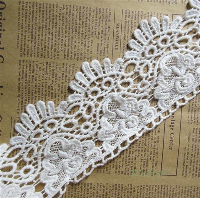 2 yard Vintage Style Lace Trim Crochet Ivory White Wedding Sewing Ribbon1-1.5cm