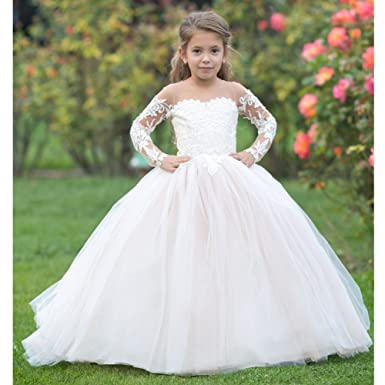 a8247addd33 TriumphDress Big Girls Ivory Cream Lace Applique Train Flower Girl Dress  12-14
