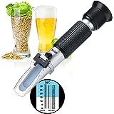 Refractometer, RISEPRO Home Brewing Alcohol Hydrometer Dual Scale Brix 0~32% Wort SG 1.000 ~ 1.120 Specific Gravity Sugar Wine Beer Juice Fruit Grass (Aluminium)