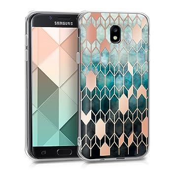 kwmobile Funda para Samsung Galaxy J5 (2017) DUOS - Carcasa de TPU para móvil y diseño de Rombos en Azul/Oro Rosa