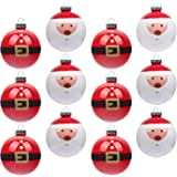 KI Store Christmas Baubles Ornament 12ct Shatterproof 80mm Tree Ball Cute Santa Hand Painting Decorations for Xmas Trees, Parties, and Holiday