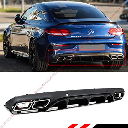 FITS FOR 2017-2019 MERCEDES BENZ W205 2 DOOR COUPE AMG C63 EDITION 1 STYLE  REAR BUMPER DIFFUSER+CHROME EXHAUST TIPS