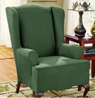 sure fit stretch suede wing chair slipcover dark green sf36472