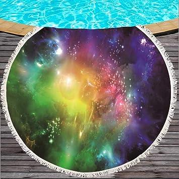 Binglin Personalizado Starry Sky Toalla de Playa Redonda Grande Microfibra 150 cm Manta para Acampar Estera de Yoga Toalla para niños, Adultos, Negro, ...