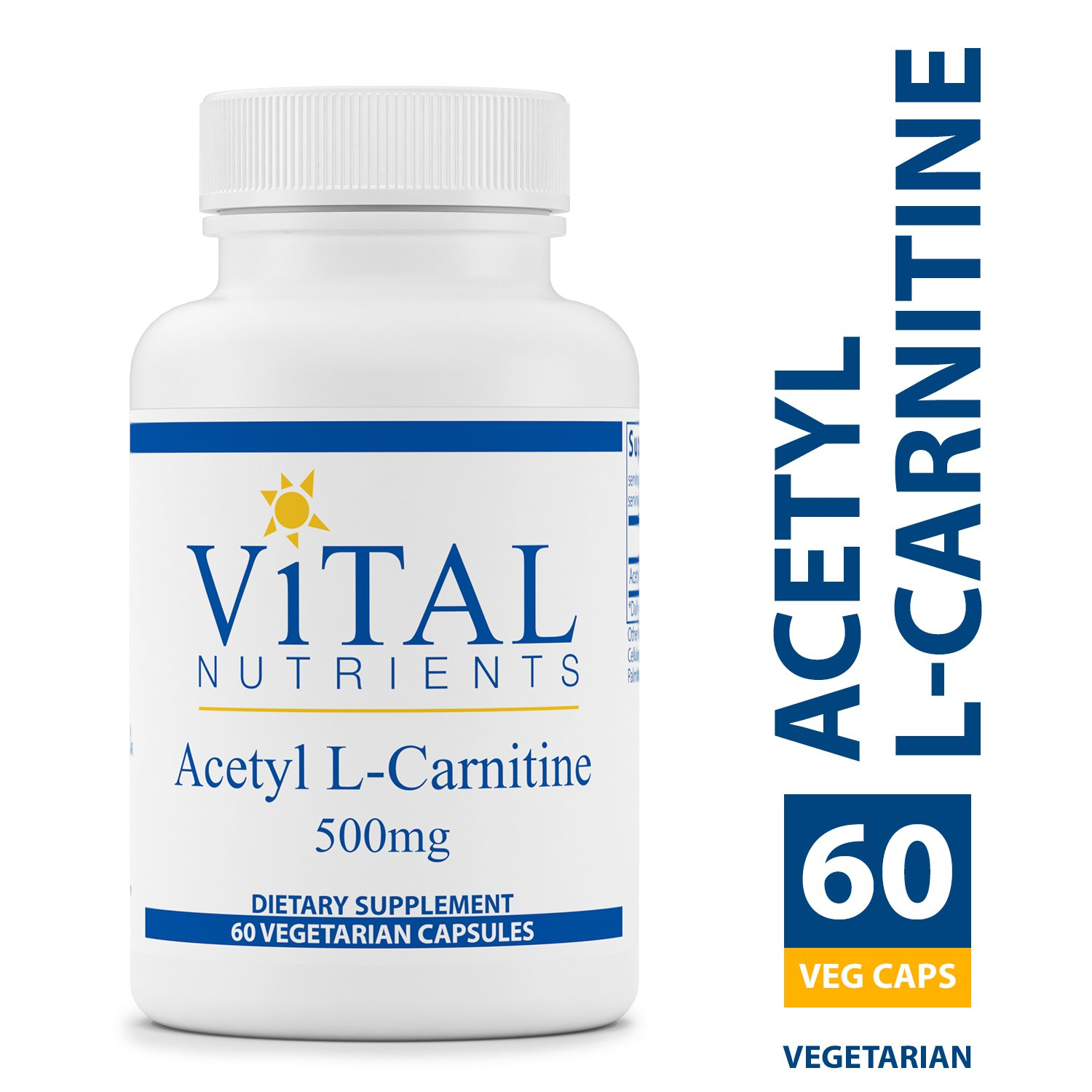 Vital Nutrients – Acetyl L-Carnitine 500 mg – Supports Normal Brain Function – 60 Capsules per Bottle