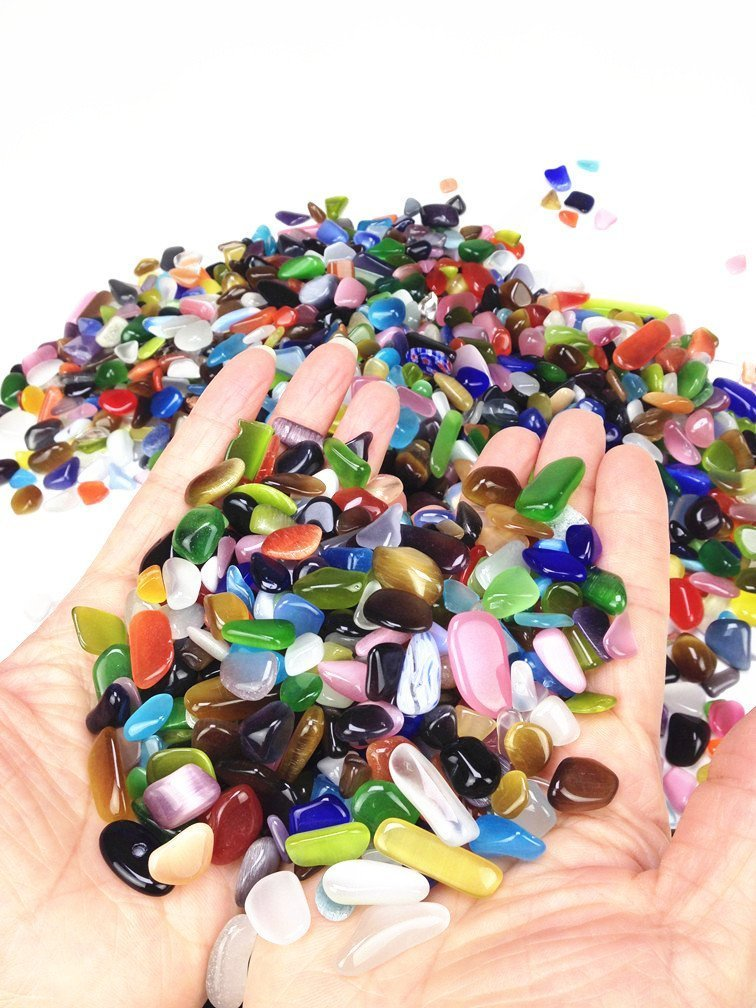 Wayber Colorful Pebbles, 0.9 Lb/410g Opal Glass Sand Rock Crystal Stones  For Aquariums