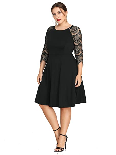 Milumia Plus Size Hollow Out Lace 34 Sleeves Scoop Neck Empire Waist Evening Homecoming Party Midi Dress