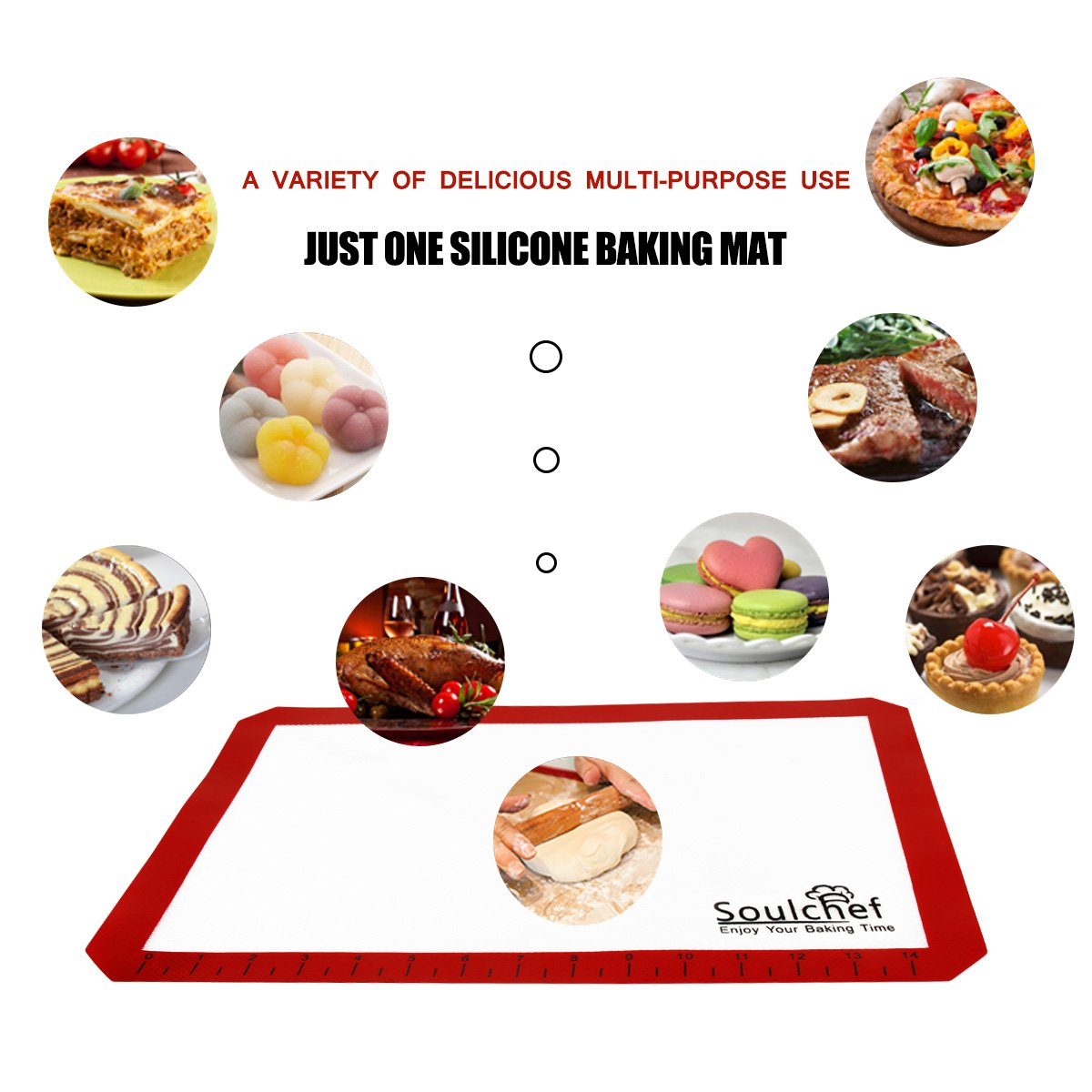 Silicone Baking Mats, Baking Sheets Silicone Mats for Baking 3 Sets Silicon Baking Liners Cookie Sheets Nonstick Reusable Baking Sheet Liner Non Stick Silicone Baking Mat 2 Half + 1 Quarter Baking Mat by SOULCHEF (Image #6)