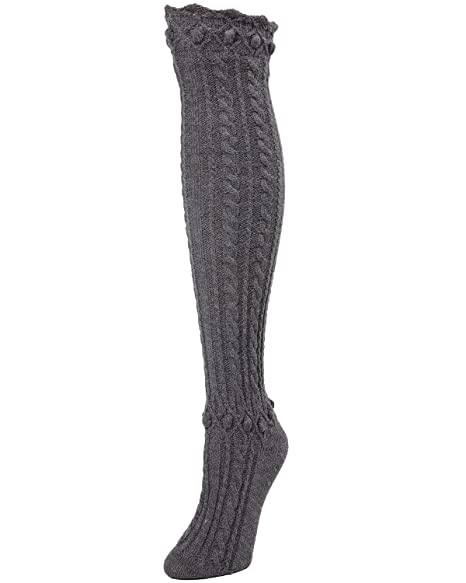 bd34f0cd167 MeMoi Bonbon Over the Knee Sock - Pretty Knit Boot Socks for Women Dark  Grey Heather MF7 5493 One Size 9-11 at Amazon Women s Clothing store