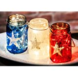 Cypress Home Americana Glass Mason Jars with String Lights, Set of 3