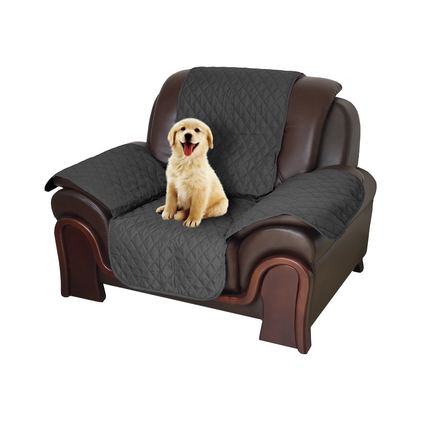 Pet Sofa Cover, Reversible Couch Cover for Dogs, Kids, Pets, Sofa Slipcover Set Furniture Protector for 1 Cushion Couch, Recliner, Loveseat and Chair Black 21'' X 72''