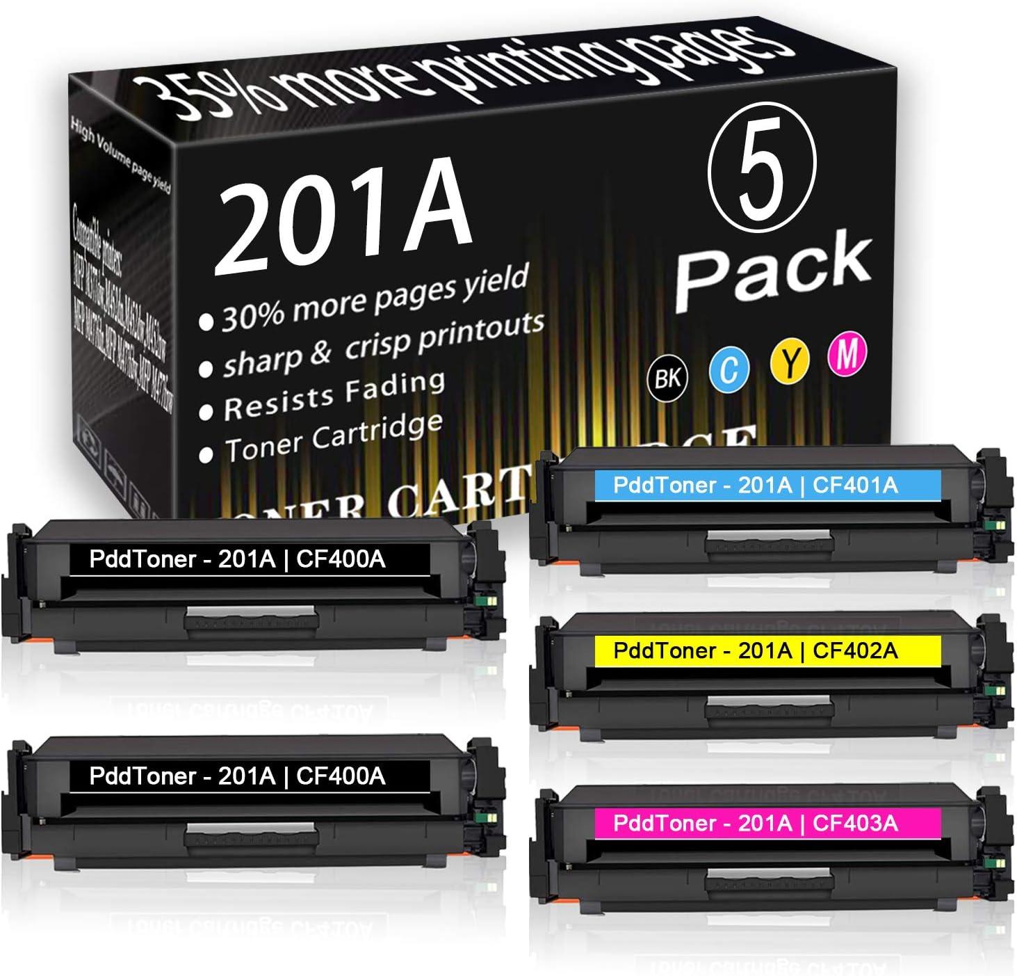 2BK+1C+1Y+1M 5-Pack 201A CF400A CF401A CF402A CF403A Toner Cartridge Replacement for HP Laserjet Pro Laserjet Pro M252dw M252n MFP M277n MFP M277dw MFP M277c6 MFP M274n Toner Cartridge,by PddTon