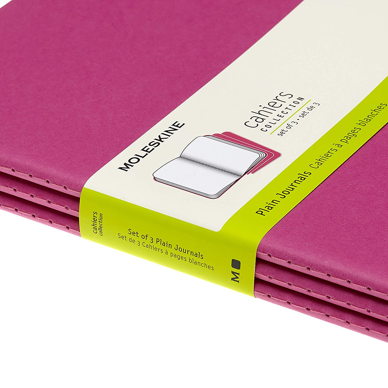 Set de 3 Cuadernos con P/áginas Cahier Journal Cuaderno de Notas Color Amarillo Suave Tapa de Cart/ón y Cosido de Algod/ón Visible Moleskine