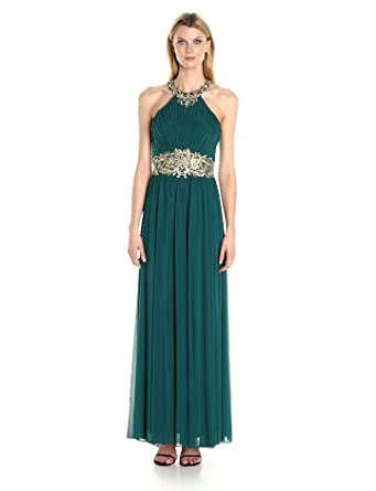 ad44d51def Amazon.com: Cachet Women's Jeweled Halter Gown: Clothing