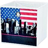 New York -Panier De Rangement Pliable Déco New York Drapeau Américain 12cm