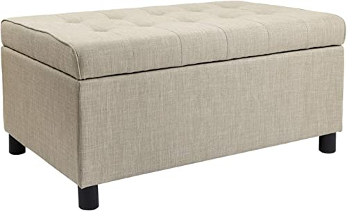 Decent Home Rectangular Tufted Storage Ottoman Bench Lift Top Faric Footstool for Bedroom Beige