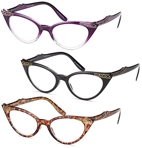 4519931ff07 GAMMA RAY 3pk Womens Chic Cat Eye Vintage Reading Glasses - 1.50  Magnification