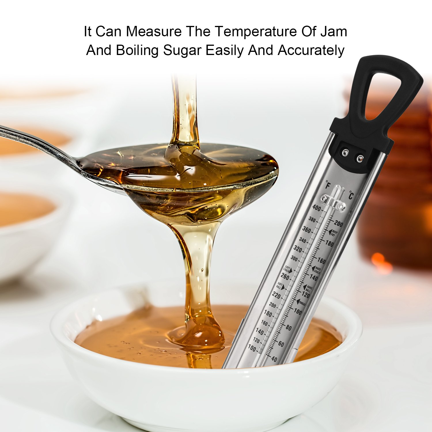 Candy/Jam/Sugar/Syrup Thermometer, Stainless Steel Glass Candy Thermometer With Hanging Hook and Non-toxic Aviation Kerosene Rod Core by Telead (Image #4)