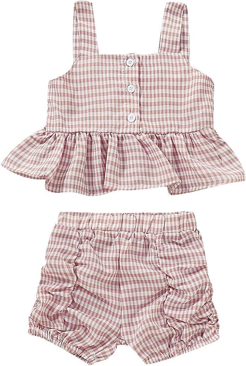 Toddler Baby Girl Floral Halter Ruffled Outfits Set Strap Crop Tops + Short Pants 2 PCS Summer Clothes Set
