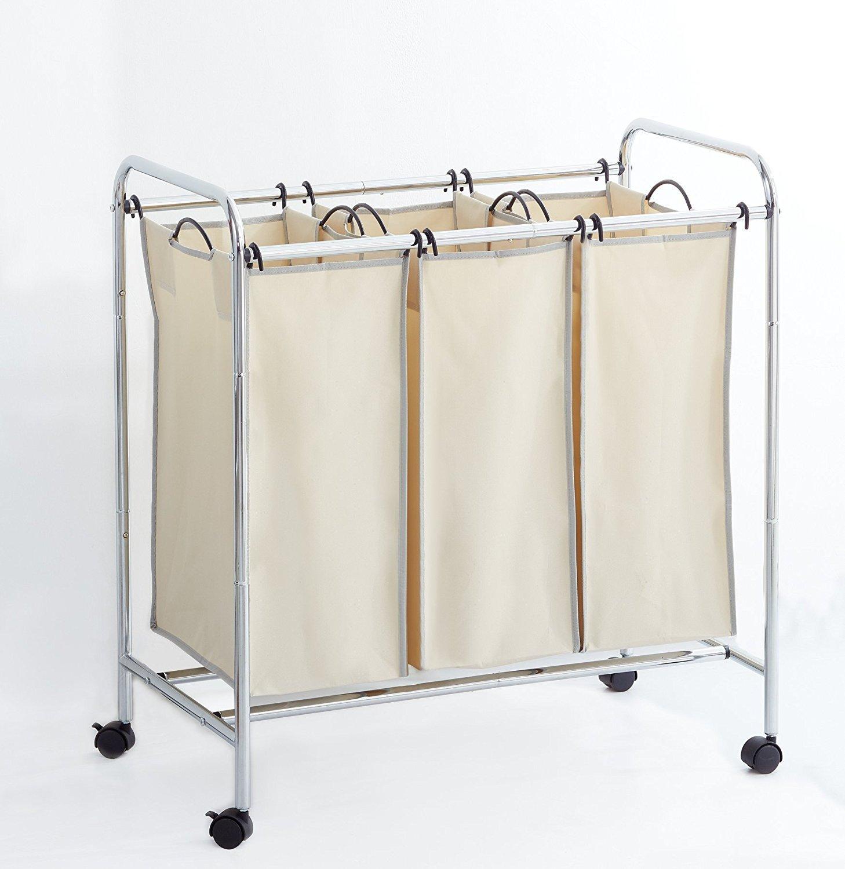 Hamper with Wheels Rolling Cart Heavy Duty 3-Bag Triple Laundry Organizer/Sorter, Chrome/Beige by Clara Clark