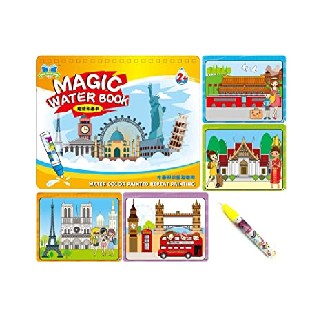 Sipobuy Magic Water Drawing Book Agua Libro para Colorear Doodle con Magic Pen Tablero de Pintura para niños Educación Dibujo Juguete (Alrededor del ...