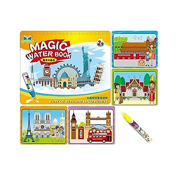 Sipobuy Magic Water Drawing Book Agua Libro para Colorear Doodle con Magic Pen Tablero de Pintura para niños Educación Dibujo Juguete (Alrededor del ...