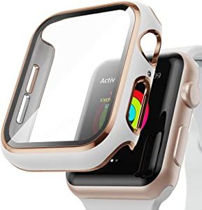 AISIBY Case Compatible with Apple Watch Series 3/2/1 42mm with Built-in Tempered Glass Screen Protector,Rose Gold Edge White Bumper Full Coverage HD Clear Protective Film Cover for Women Men