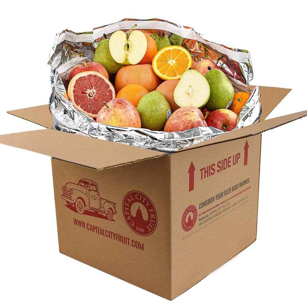 Gourmet Fruit Gift Pack, (20lbs) Orchard Fresh Oranges, Pears, Apples, and Grapefruit (32 pieces) loaded with Immunity Boosting Vitamin C from Capital City Fruit, Farm Produce Direct