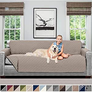 Sofa Shield Original Patent Pending Reversible Oversize Sofa Slipcover, 2 Inch Strap Hook, Seat Width Up to 78 Inch Washable Furniture Protector, Couch Slip Cover, Oversize Sofa, Lt Taupe Lt Taupe