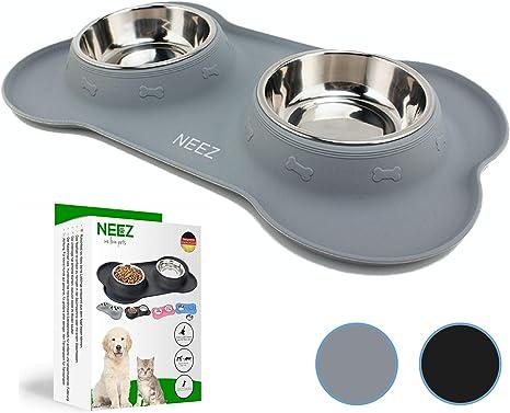 NEEZ Comedero perro Gato bebedero gatos perros (grey): Amazon.es ...