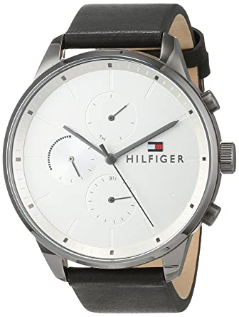 Tommy Hilfiger Reloj Multiesfera para Hombre de Cuarzo con Correa en Cuero 1791489: Amazon.es: Relojes
