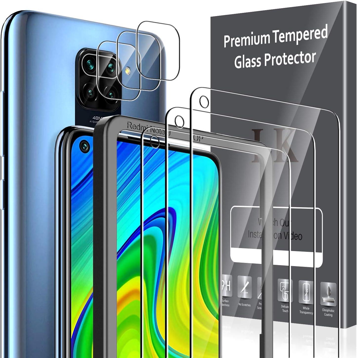 LK 6 Pack Protector de Pantalla Compatible con Xiaomi Redmi Note 9,Contiene 3 Pack Cristal Vidrio Templado y 3 Pack Protector de Lente de cámara, Doble Protección,Marco de Posicionamiento
