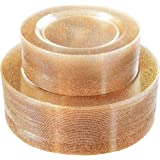 "WDF 120PCS Gold Plastic Plates- Disposable Gold Glitter Plates, Premium Heavy Duty 60-10.25"" Dinner Plates and 60-7.5…"