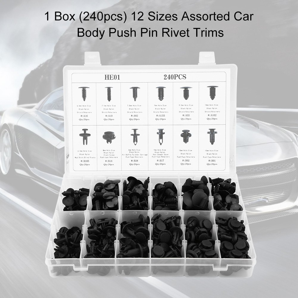Hlyjoon Plastic Fastener 240Pcs Car Body Push Pin Trim Rivet Kit 12 Sizes Assorted Bumper Fixed Clamp Fasteners Retainer Clips for Honda Toyota Ford Universal