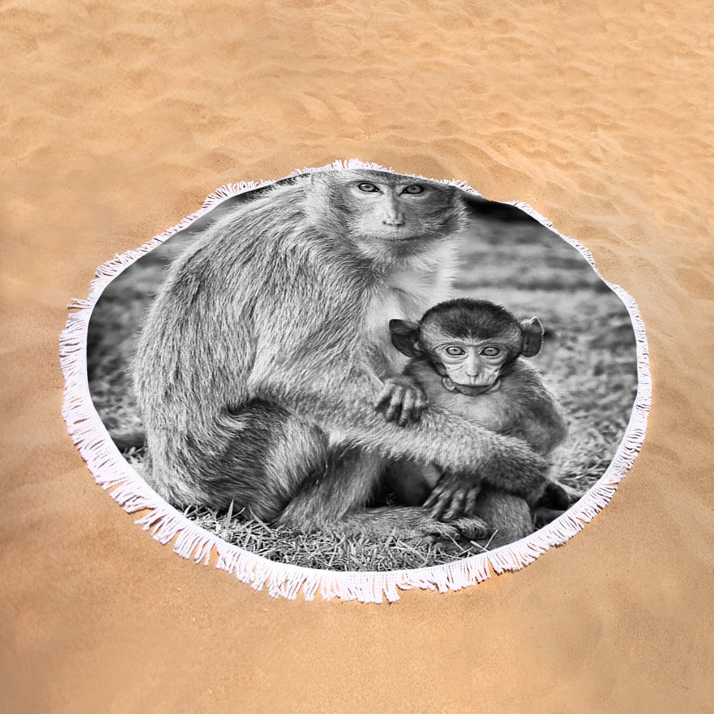 Pixels Round Beach Towel With Tassels featuring ''Mother And Baby Monkey Black And White'' by Adam Romanowicz by Pixels