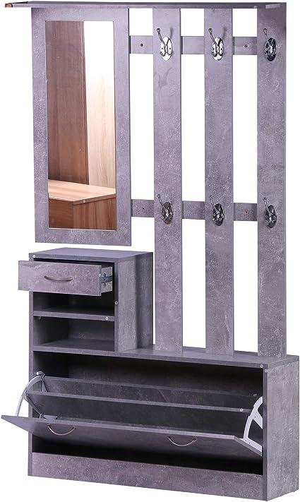 Oferta amazon: HOMCOM Conjunto de Muebles de Entrada Recibidor Pasillo Set de 3 Piezas Perchero Espejo Zapatero con Cajón 90x22x116cm Madera Gris