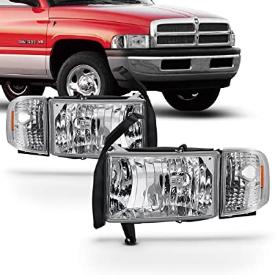 For 94-01 Dodge Ram 1500 2500 3500 Chrome Headlights w/Corner Signal Lamps Left+Right Replacement: Automotive