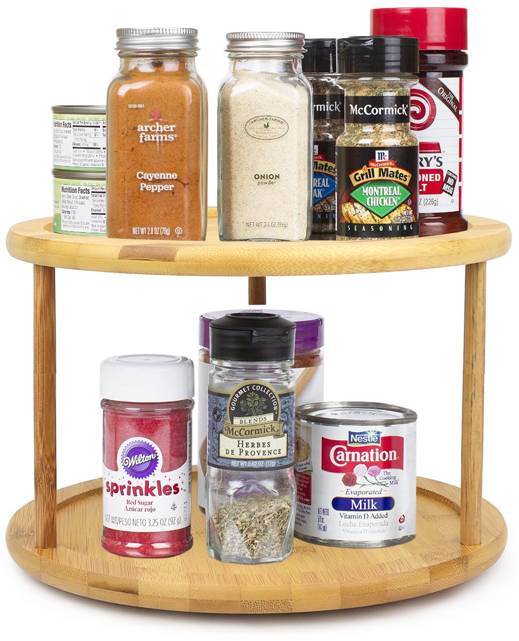 Premium Bamboo 2 Tier Lazy Susan - being used