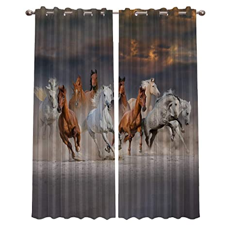 Animal Printed Curtains Living Room Bedroom Window Drapes 3D 2 Panel Set