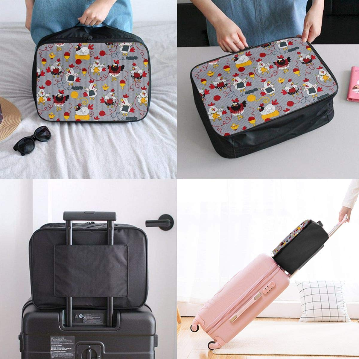 Lightweight Large Capacity Duffel Portable Luggage Bag Red Chickens Grey Travel Waterproof Foldable Storage Carry Tote Bag