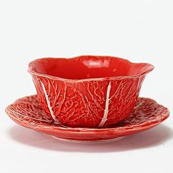 Desconocido Repollo-Bowl + Plato - Colección Repollo - Naranja - Cerámica Artesanal - Hecho en Portugal - Vintage: Amazon.es: Hogar