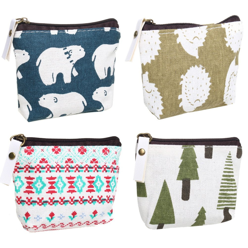 4 Packs Change Purse, borte Printed Canvas Change Coin Purse Small Cute Coin Purse Change Holder Zip Mini Wallet