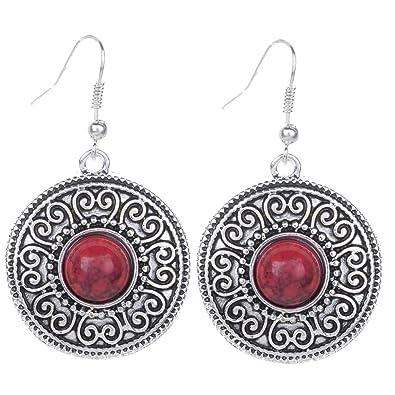 Yazilind Vintage Tibetan Silver Red Round Resin Embossed Dangle Drop Hook Earrings hJ4moB