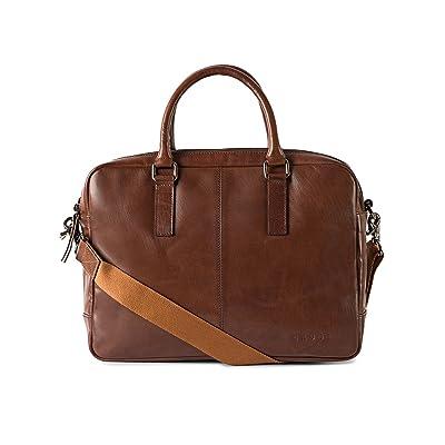Gauge 15.5 inch Leather Laptop Bag Messenger Bag Office Briefcase College Bag for Men (Tan) free shipping