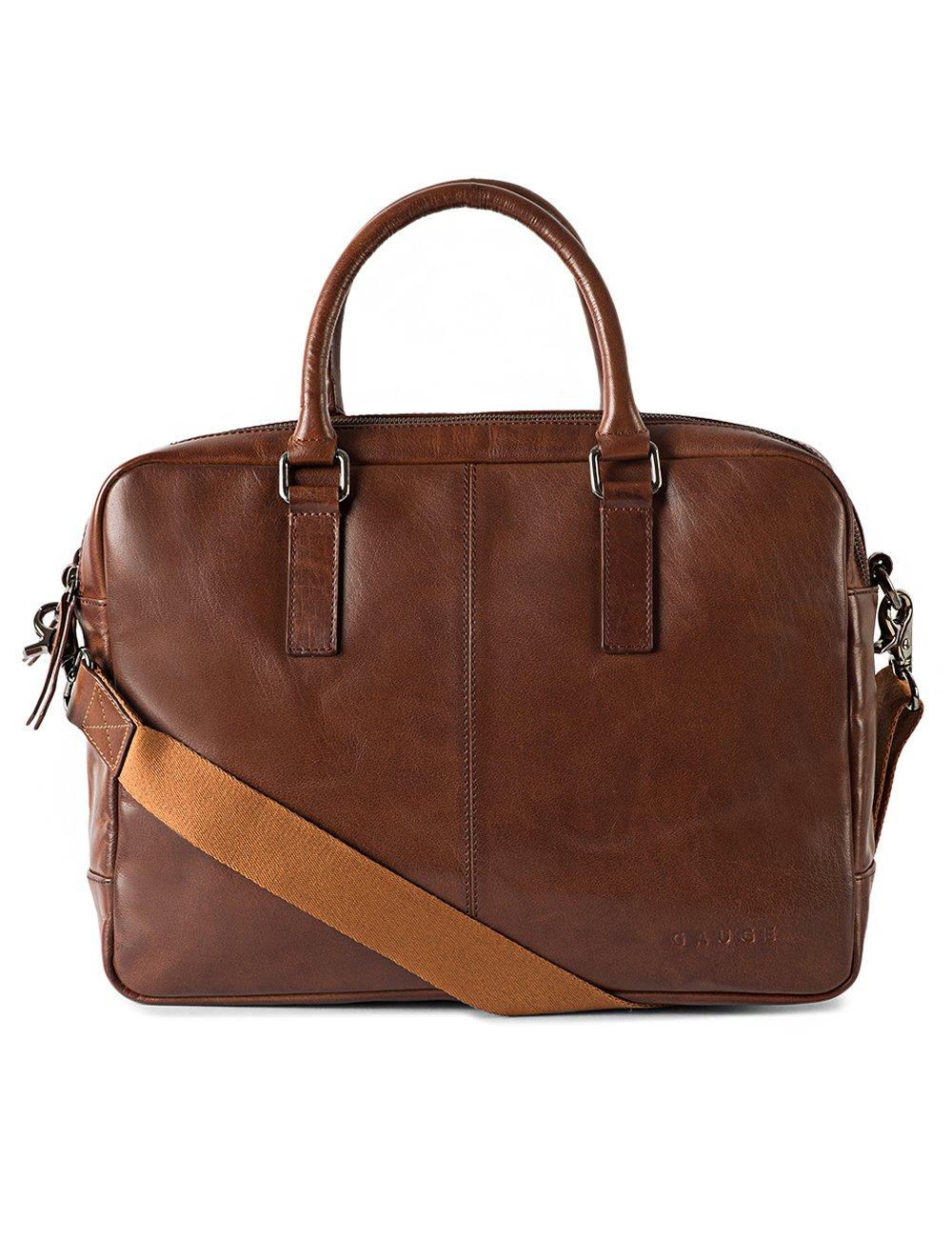 Gauge 15.5 inch Leather Laptop Bag Messenger Bag Office Briefcase College Bag for Men (Tan)