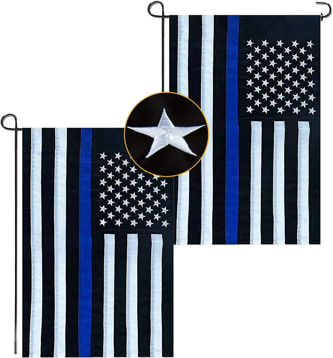 2 Pack Thin Blue Line American Flag 12''x18'', Durable Deluxe Embroidered Stars and Double Edge Sewing, Black White and Blue Police Flag Honoring Law Enforcement Officers