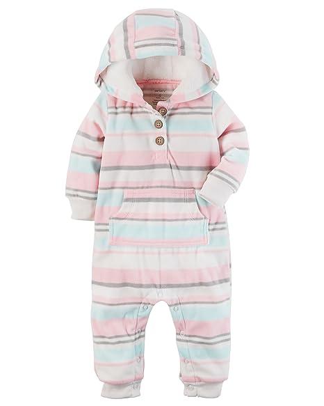 3c713eba9402 Amazon.com  Carter s Baby Girls Fleece Hooded Romper Jumpsuit ...